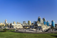 Central Sharjah UAE. View of central Sharjah area at Al Itihad Park Sharjah United Arab Emirates Stock Image
