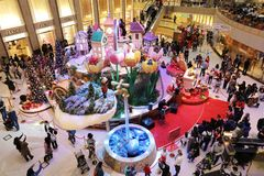 the central of big shopping mall xmas event Stock Images