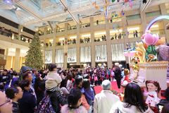 the central of big shopping mall xmas event royalty free stock images