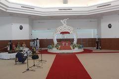 Inside Central Sikh Gurdwara in Singapore, Sikhism. The central Sikh Gurdwara is the largest Gurdwara in Singapore. Many sikhs attend service here. Many punjabi Royalty Free Stock Images