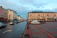 Central Soborna gata i Rivne, Ukraina Royaltyfria Bilder