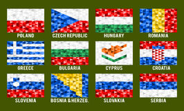 Central and South Europe low poly flags Royalty Free Stock Photography