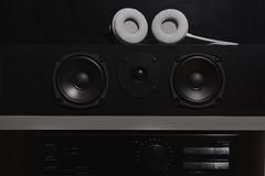 Central speakers and stereo amplifier with digital equalizer from a 7.1 THX Hi-Fi sound system Stock Photos