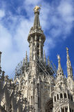 The central spire of a cathedral Duomo, Milan Royalty Free Stock Images