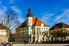 Altotting in Bavaria. Winter in Germany. Central square of Altotting in Bavaria. Winter in Germany royalty free stock images
