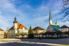 Altotting in Bavaria. Winter in Germany. Central square of Altotting in Bavaria. Winter in Germany royalty free stock photo