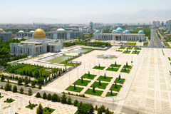 Central square of Ashgabat. With President Palace. Turkmenistan Royalty Free Stock Photos