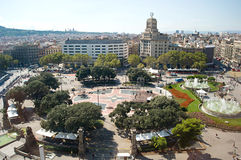 Central square in Barcelona. Busy day on Central Square in Barcelona, crowds of tourists in the midday stock images