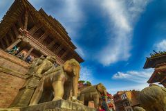 Central square in Bhaktapur city, Nepal. December 2017. Editorial royalty free stock photos