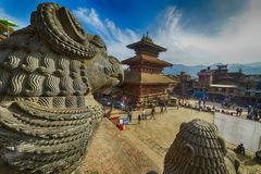 Central square in Bhaktapur city, Nepal. December 2017. Editorial stock images