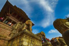 Central square in Bhaktapur city, Nepal. December 2017. Editorial stock photography