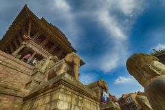 Central square in Bhaktapur city, Nepal. December 2017. Editorial royalty free stock photography