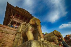 Central square in Bhaktapur city, Nepal. December 2017. Editorial royalty free stock images