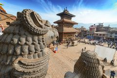 Central square in Bhaktapur city, Nepal. December 2017. Editorial stock image