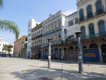 Central square in the center of Rio de Janeiro. In Brazil with colonial buildings royalty free stock images