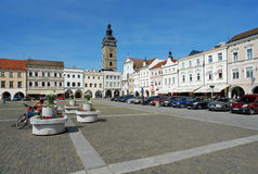 Central square of Ceske Budejovice and Black Tower Royalty Free Stock Photo