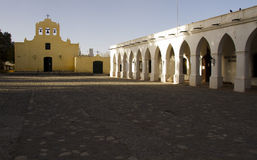 Central square and chuch in Cachi Royalty Free Stock Images