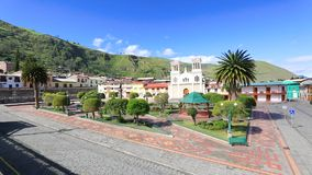 Central square and church Alausi Ecuador. Ecuador May 2018 Panoramic view of Central Square and its Church, Alausi. A meeting place for locals and tourists stock video footage