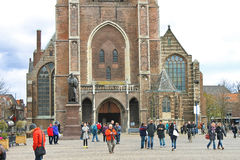 The central square and  church  in Delft. Netherlands Stock Photo