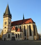 Central square with the Church of St. Aegidius Bardejov, Slovakia royalty free stock photography