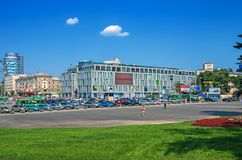 Central square of city. Dnipro, Ukraine - July 07, 2015: Central square of Dnipro city in warm sunny weather on summer day stock photo