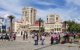 The central square of the city of Izmir, Turkey. In the center of the square is the famous clock tower, designed by architect Raymond Charles Perrin stock photography