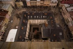 The central square of the city of Lviv. From the height of the town hall stock image