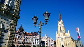 The Central square in the city of Novi Sad in Serbia in clear weather royalty free stock images