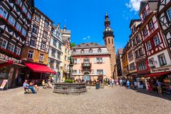 Central square in Cochem, Germany. COCHEM, GERMANY - JUNE 28, 2018: Central square in Cochem old town in Moselle valley, Germany stock images