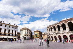 Central Square with Colosseum in Verona, Italy in a cloudy day Stock Photo