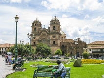 Central square In Cuzco, Plaza de Armas. Peru. Stock Images