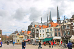 The central square  in Delft. Netherlands Stock Photos