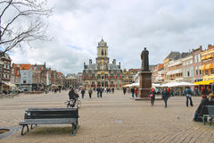 The central square  in Delft. Netherlands Royalty Free Stock Photography