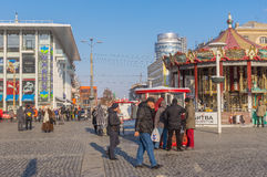 Central  square of the Dnepropetrovsk city with many people at workday Royalty Free Stock Image