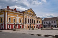 Central square and former prefecture building in Sighet - Sighetu Marmatiei - Maramuresh, Romania.  royalty free stock photography