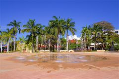 Central square in Cozumel island, Mexico. Central square and a fountain in Cozumel island, Mexico royalty free stock images
