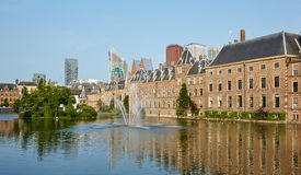 The central square with a fountain in Den Haag Royalty Free Stock Photos