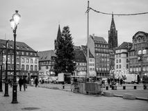 Central square in France Strasbourg Place Kleber. STRASBOURG, FRANCE - JAN 11, 2018: Busy Place General Kleber central square in Strasbourg at dusk with Stock Photography