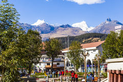 Central square of Huaraz Cordiliera Blanca. HUARAZ, PERU -AUGUST 4: Central square of Huaraz Cordiliera Blanca, on august 3, 2012 at Huaraz, Peru stock photos