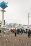The central square of Kiev during the mass rallies in support of Royalty Free Stock Images