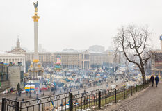 The central square of Kiev during the mass rallies in support of Royalty Free Stock Photography
