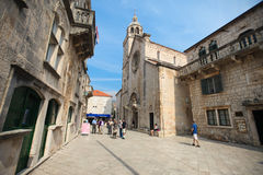 Central Square - Korcula Royalty Free Stock Image