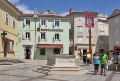Central square of Krk town Stock Image