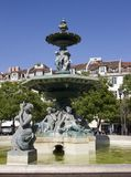 Central square in Lisbon. Portugal in the summer. Central square in Lisbon. fountain. Portugal in the summer stock photo