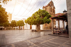 Central square on Los LLanos city. Central square with Nuestra Seora de Remedios church in Los Llanos city on the western part of La Palma island stock images