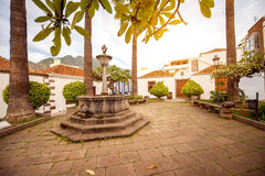 Central square on Los LLanos city. Central square with old fontain in Los Llanos city on the western part of La Palma island stock images