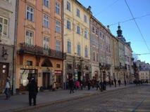 Central square of Lviv Stock Photo