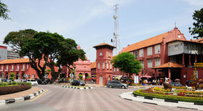 Central square in Melaka. Malaysia. Central square and Christ Church in Melaka. Malaysia stock photo