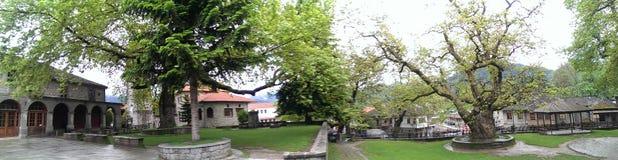 Central square in Metsovo. Central square in traditional Vlach village of Metsovo, Greece Stock Photo