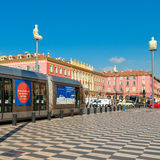 Central Square with modern high-speed tram in Nice Stock Images